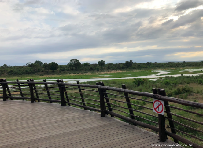 views of Sabie River from restaurant deck at Lower Sabie