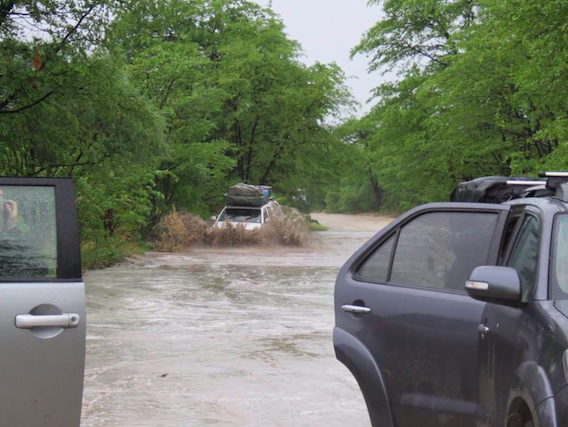 4x4 campsites and roads in heavy rains Southern Africa